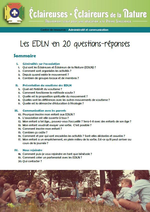 <b>Les EDLN en 20 questions - réponses</b>
