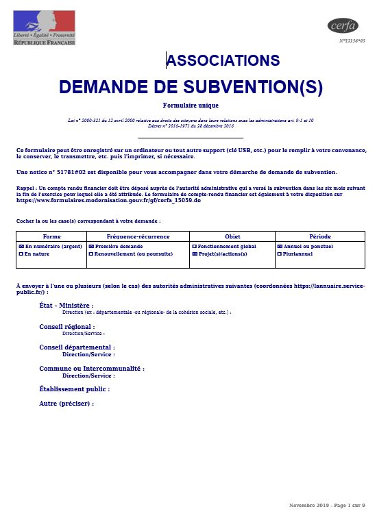 <b>Demande de subvention pré-remplie</b>