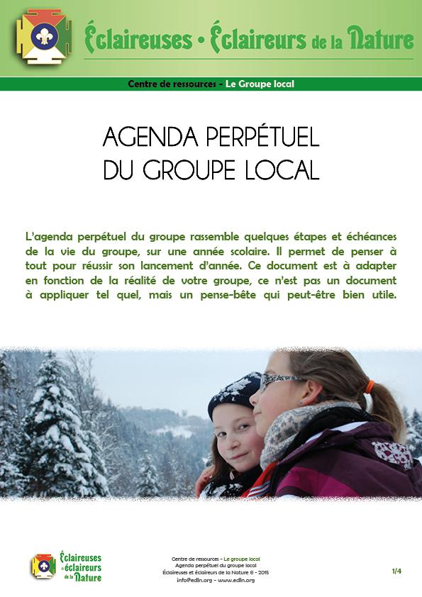 <b>Agenda perpétuel du groupe local</b>