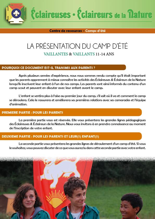 <b>Présentation du camp d'été - VAILLANTS</b>