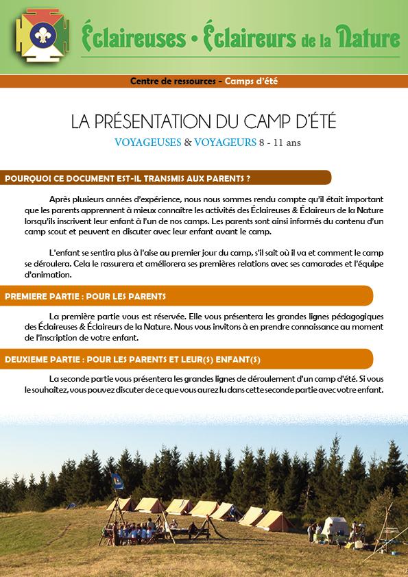 <b>Présentation du camp d'été - VOYAGEURS</b>