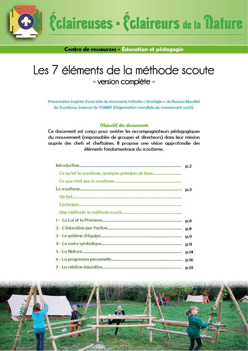 <b>Les 7 éléments de la méthode scoute (complet)</b>
