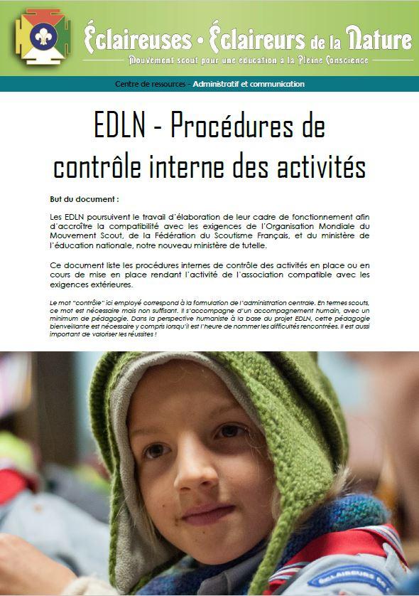 <b>Procédures de contrôle interne des activités </b>