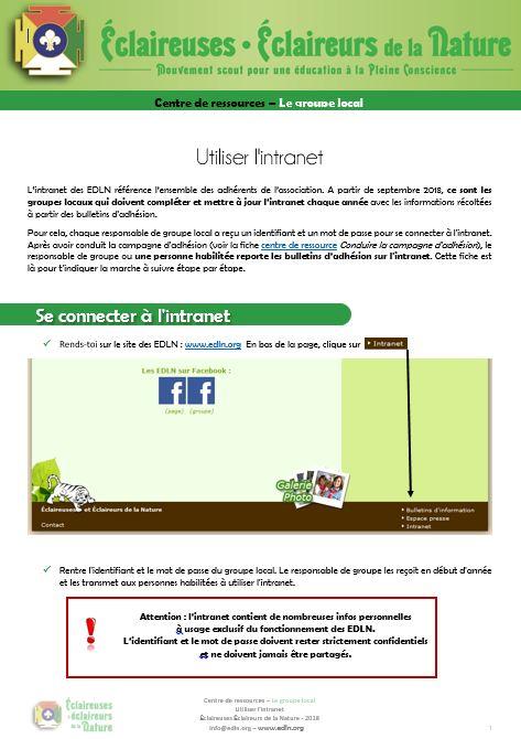 <b>Utiliser l'intranet</b>