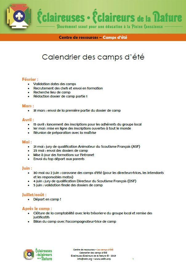 <b>Le calendrier des camps d'été 2020</b>