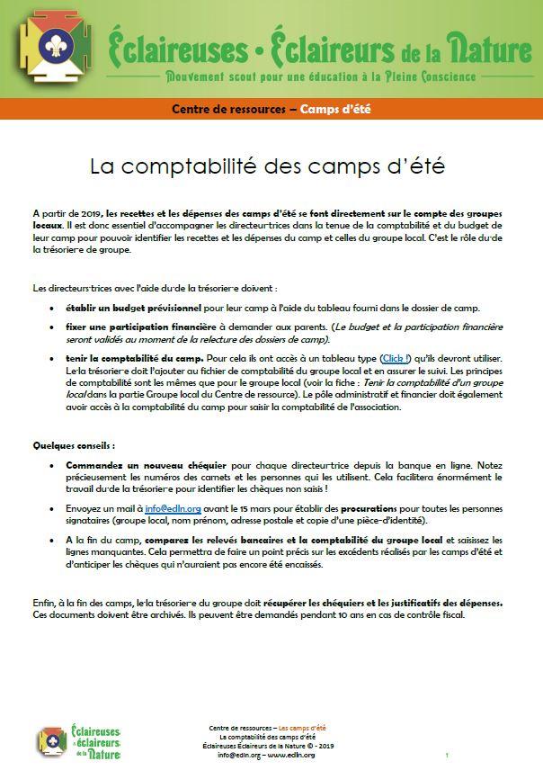 <b>Comptabilité des camps d'été</b>
