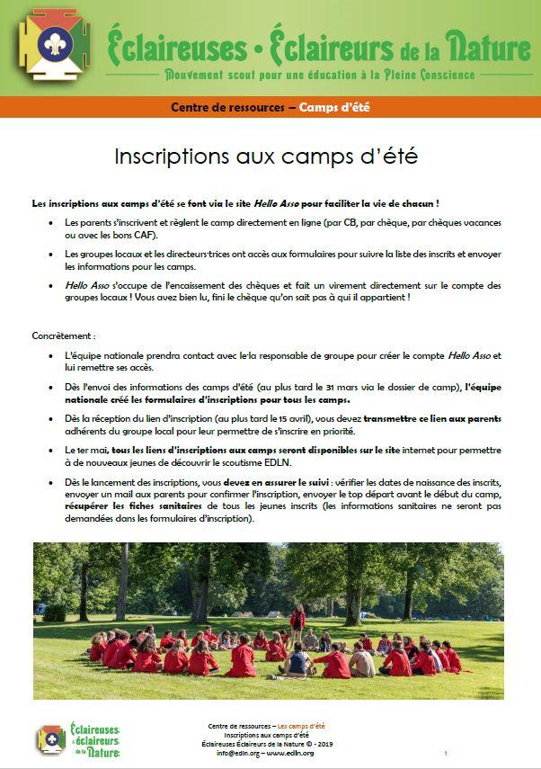 <b>Inscriptions aux camps d'été 2021</b>